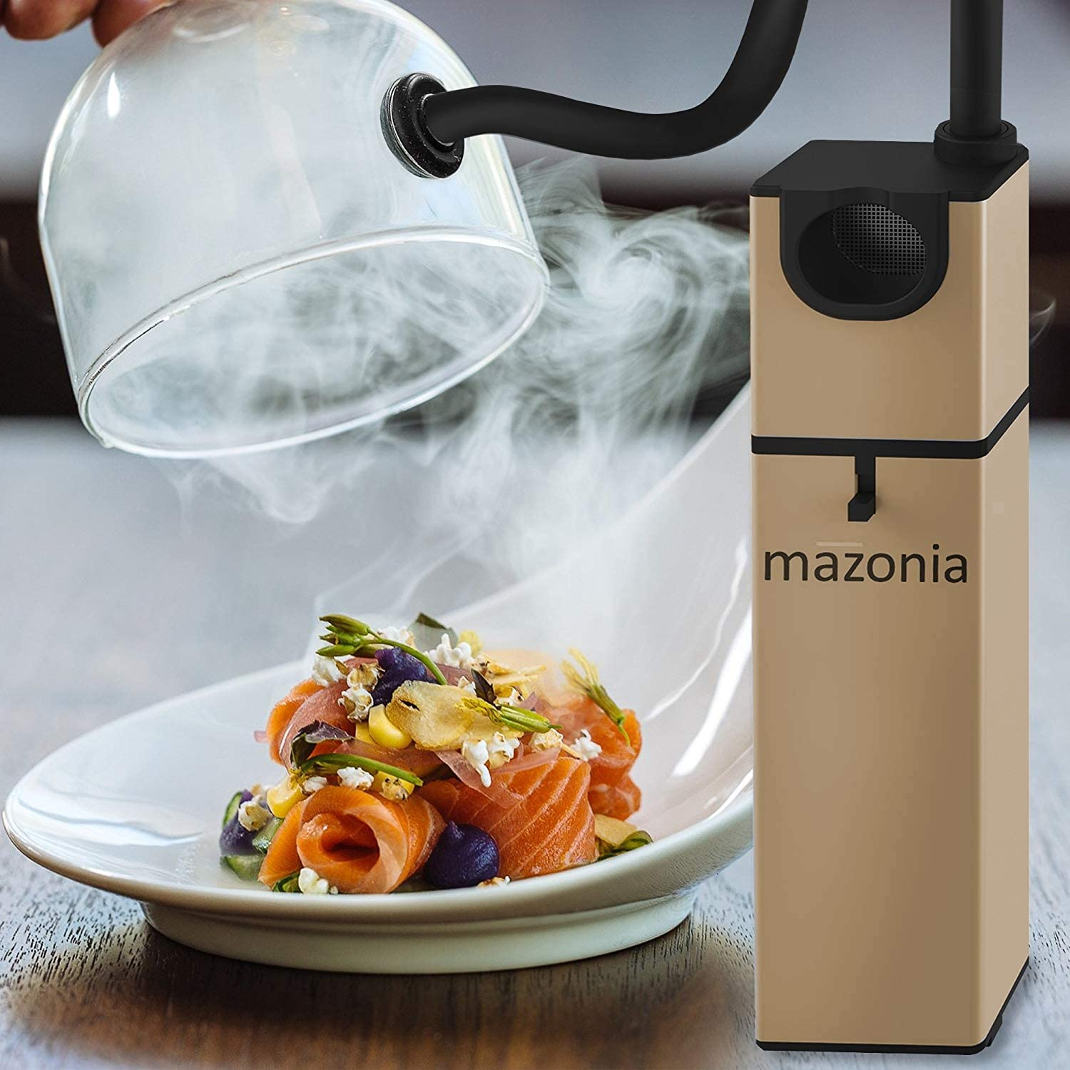 Uses Real Wood Chips BBQ For Meat,Sous Vide Mazonia Portable Infusion Smoker Gun: For Kitchen Indoor//Outdoor Gold Gold Grill Cocktail Drinks /& Cheese