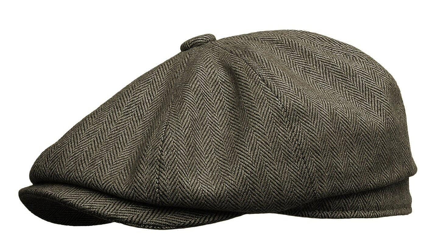 cc13b4f45d6 Rooster Herringbone Wool Tweed Newsboy Gatsby Ivy Cap Golf Cabbie Driving  Hat at Amazon Men s Clothing store