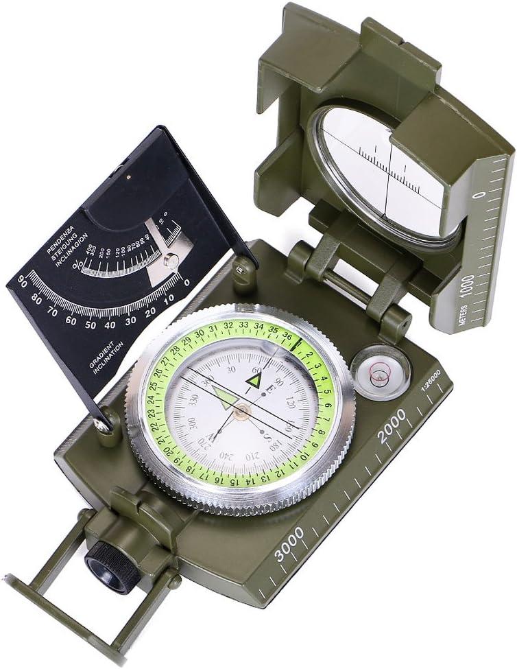 Boussole Militaire Arm/ée Boussole /étanche Boussole Lensatic avec /étui Longe pour la Marche Chasse Randonn/ée Camping