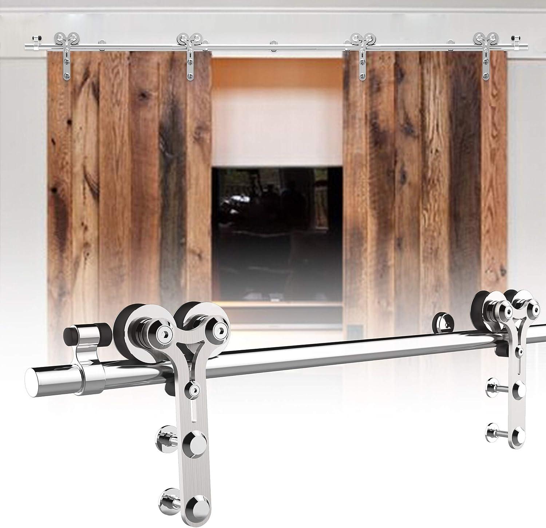 274cm/9FT kit de puerta corredera de acero inoxidable,Herrajes para puertas corredizas de acero inoxidable para puertas de vidrio/madera: Amazon.es: Bricolaje y herramientas