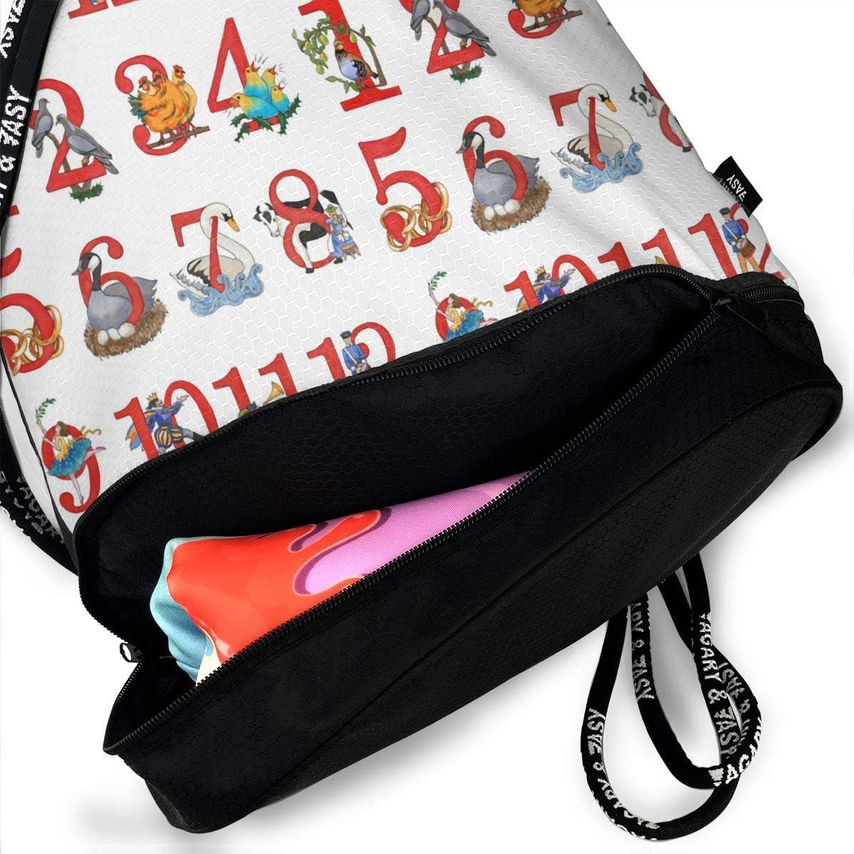 Drawstring Backpack Christmas Number Shoulder Bags