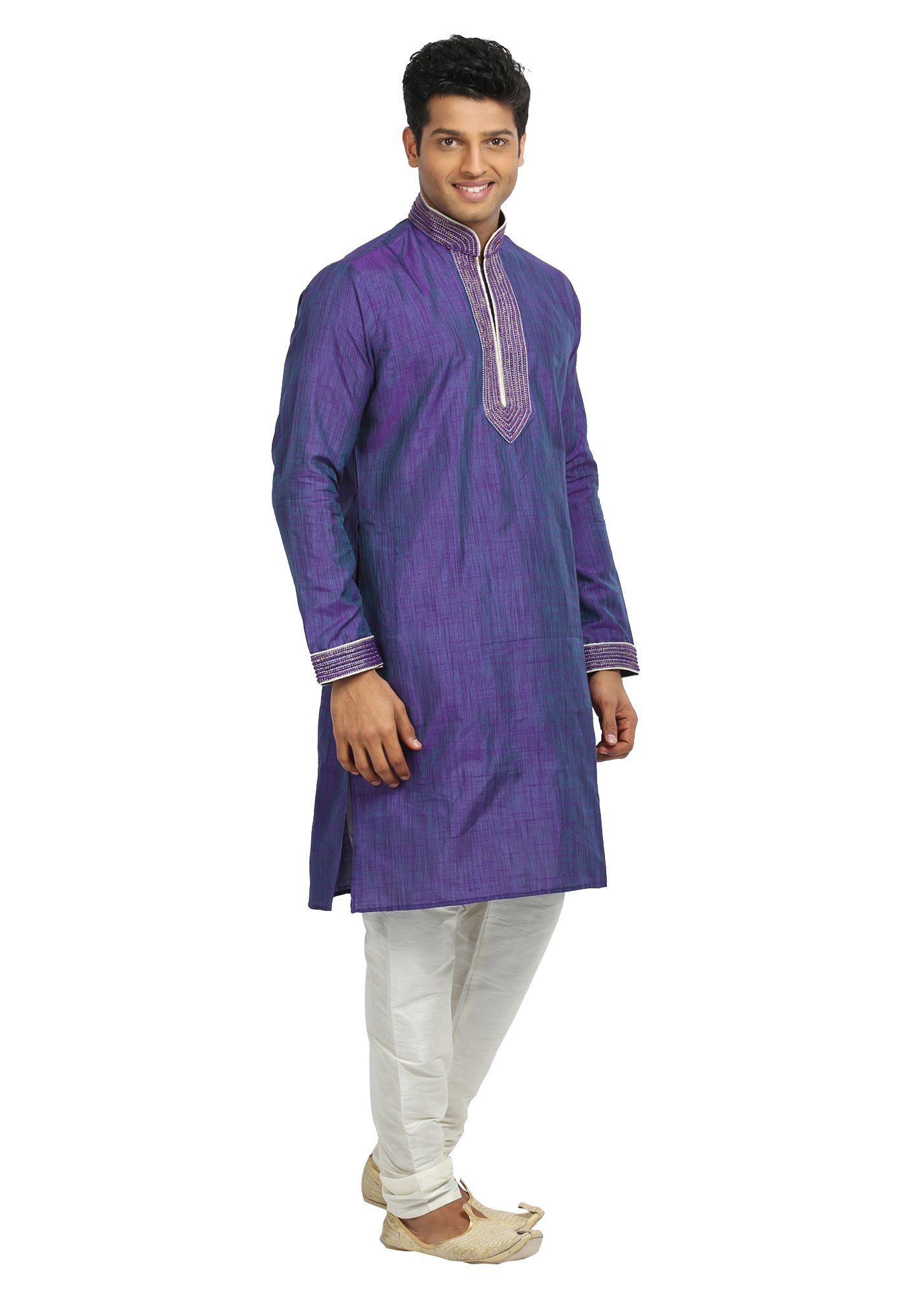 Saris and Things Purple Violet Cotton Linen Indian Kurta Pajama for Men by Saris and Things (Image #1)