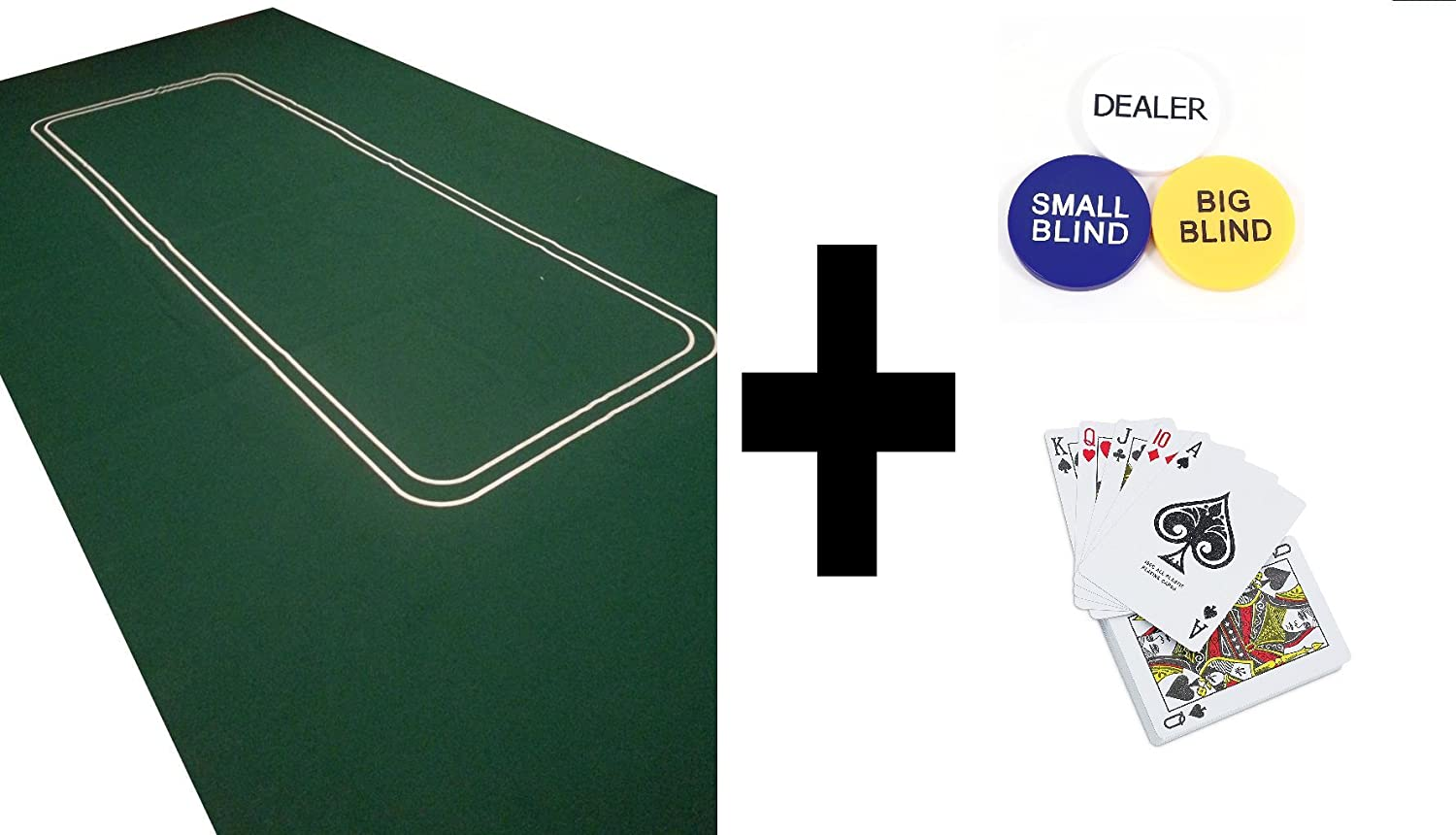 Enorme 1, 8 m Large Poker feltro layout – Texas Holdem + Dealer Button + tende e carte POKERCHIPSHOP