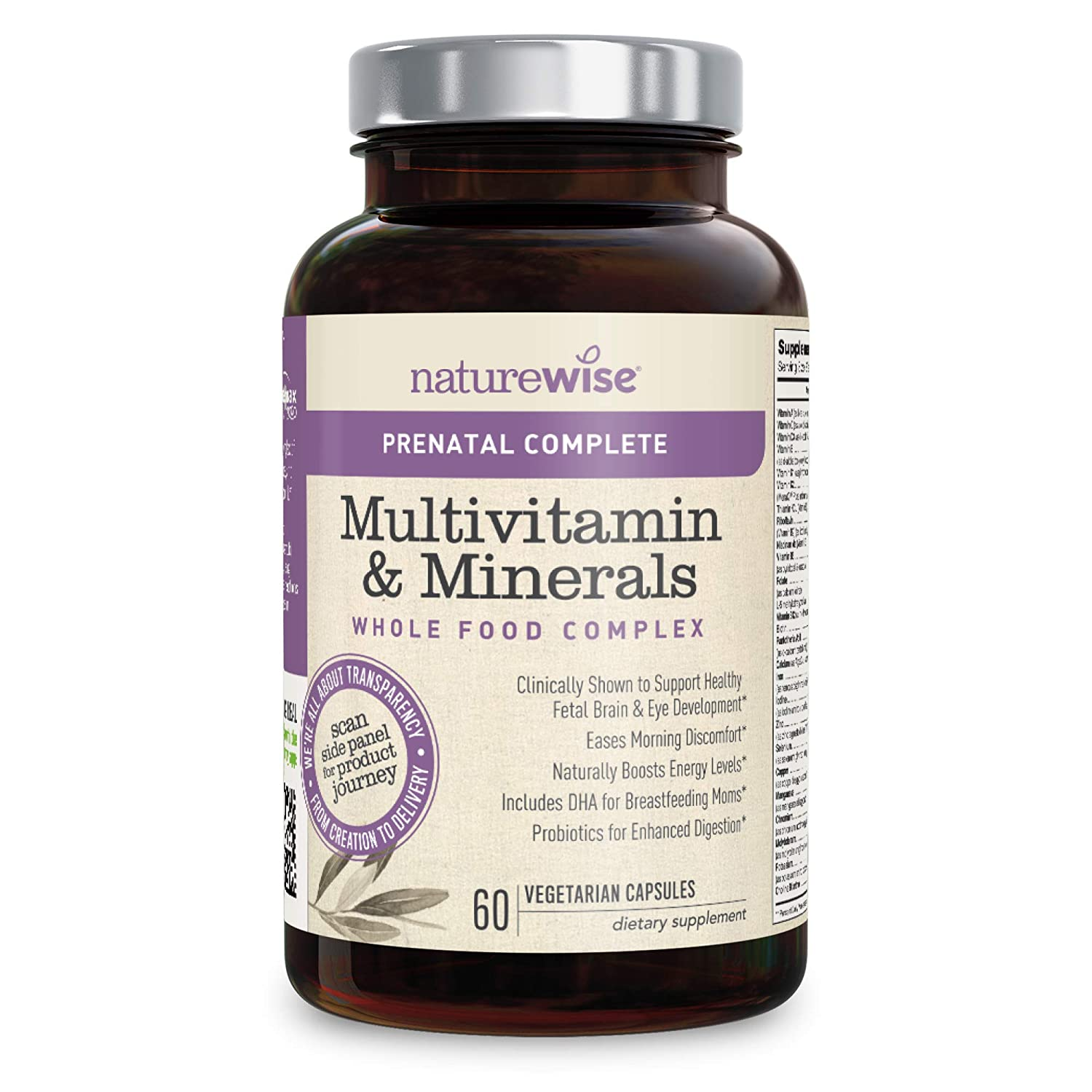 Amazon.com: NatureWise Prenatal Whole Food Multivitamin for Women | Folate, Vegetarian DHA, Non-Constipating Iron, Plant-Based Calcium, Lutemax Lutein, ...