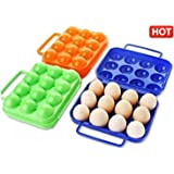 GKP PRODUCTS Foldable Camping Picnic Carry 12 Eggs Container Holder Case Box 1Pc Random Colour Model 317691
