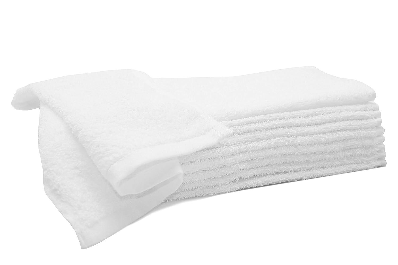 """ZOLLNER® 10 lavette da bagno/asciugamani per il viso, in morbida e voluminosa spugna 30x30 cm bianco, con due bordature 100% cotone, direttamente dallo specialista per alberghi, serie """"Amalfi"""" serie Amalfi"""
