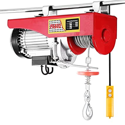 OrangeA 1320LBS Electric Hoist 110V Lift Electric Hoist Mini Electric Winch  Crane Remote Control Wire Cable Hoist Overhead Crane Lift