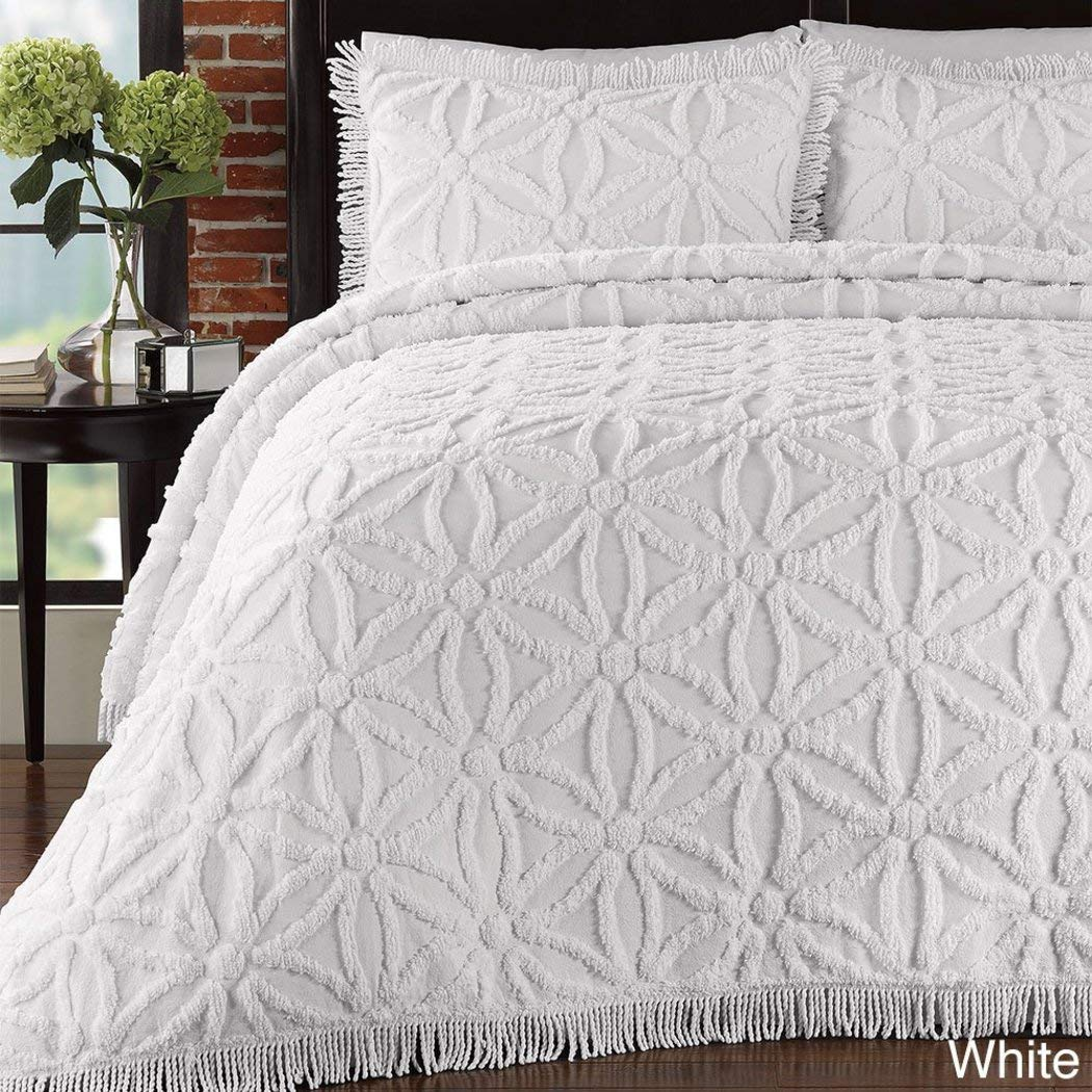 1ピース120 x 120オーバーサイズホワイトシェニール織Bedspreadキング、Textured Floral Drapesに床寝具、ハングoverエッジDropsダウン側、フランス語クラシックヴィンテージレトロ刺繍 B071D5ZNVK