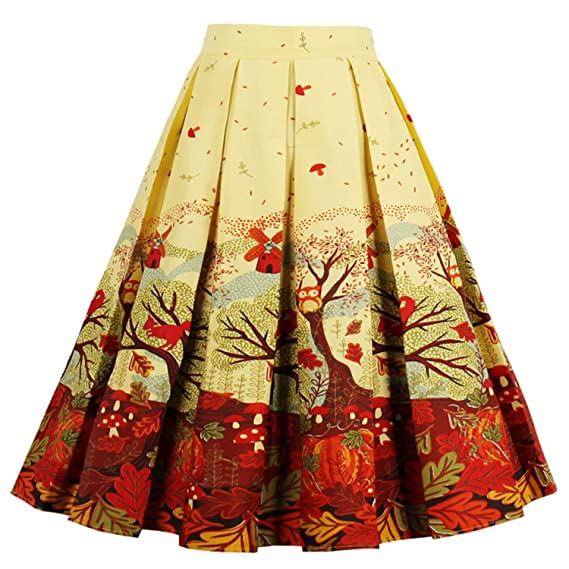 1950s Swing Skirt, Poodle Skirt, Pencil Skirts  Vintage Flared High Waist A Line Pleated Midi Skirt Pockets T-Crossworld Womens $19.99 AT vintagedancer.com