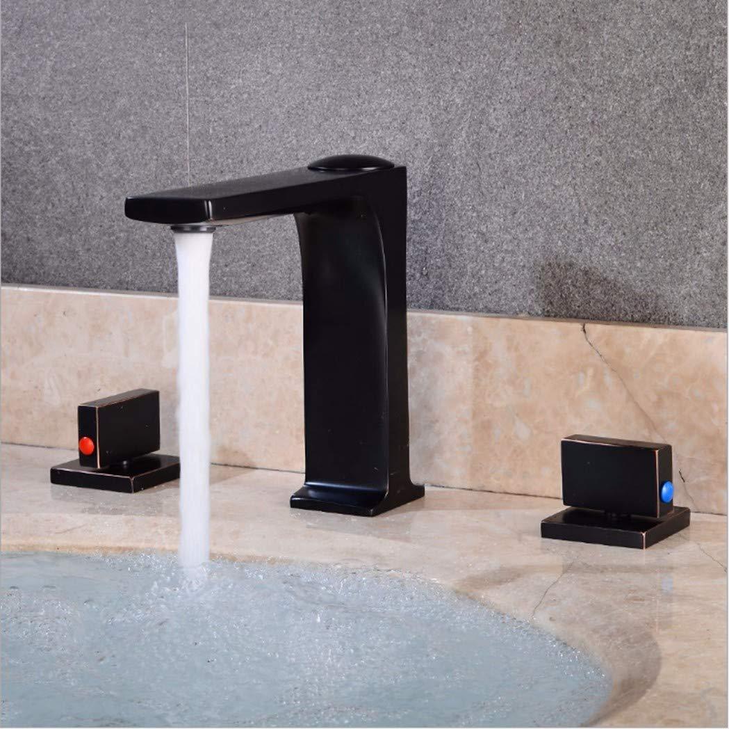 GiiWii Badezimmer Hahn Drei Loch Split Retro Metall Kupfer Für Waschbecken Warmes Und Kaltes Wasser Mischen, Eine