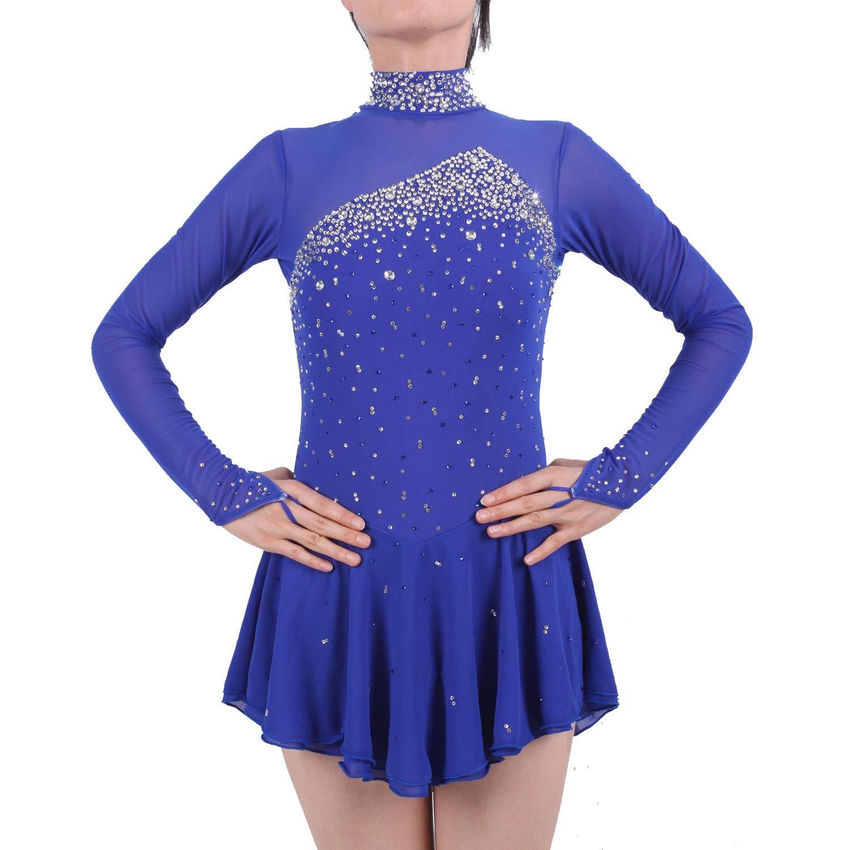 フィギュアスケートドレス女性女の子アイススケートパフォーマンスコンペティションコスチュームスパンデックスラインストーン手作りスケートウェア長袖ダークブルー ダークブルー L