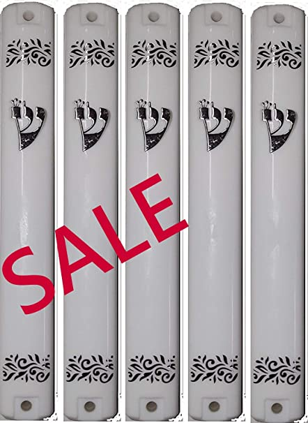 super stam MEZUZAH CASE Holder White and Gold or Silver Plastic Rubber Plug 6.3//4 inch .for 15 cm Scroll lot of 5 White//Silver