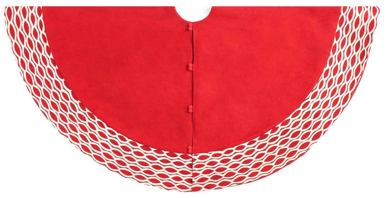 Arcadia Home TW5 Contemporary Oval Pattern Tree Skirt Handmade, Red