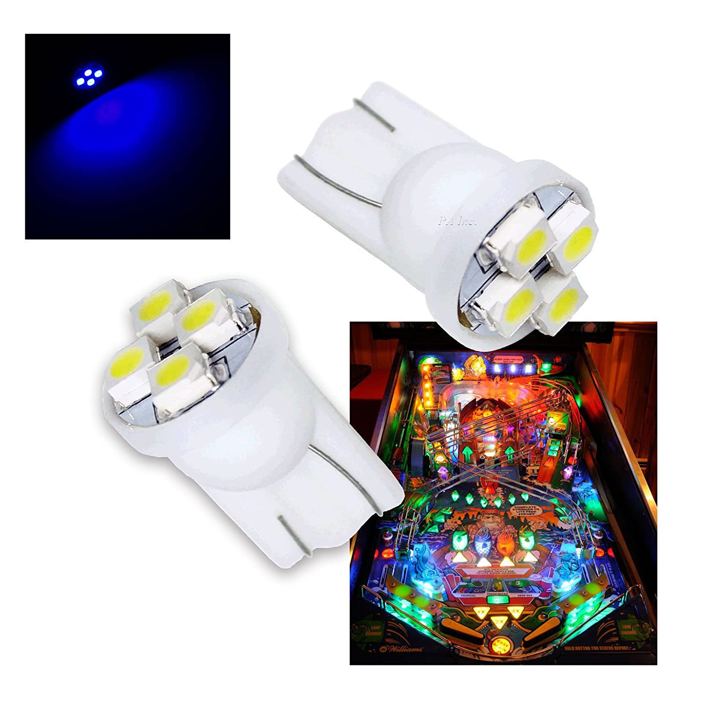 PA/® 10PCS #555 T10 4SMD LED Pinball Machine Light Bulb Blue-6.3V Per-Accurate Inc.