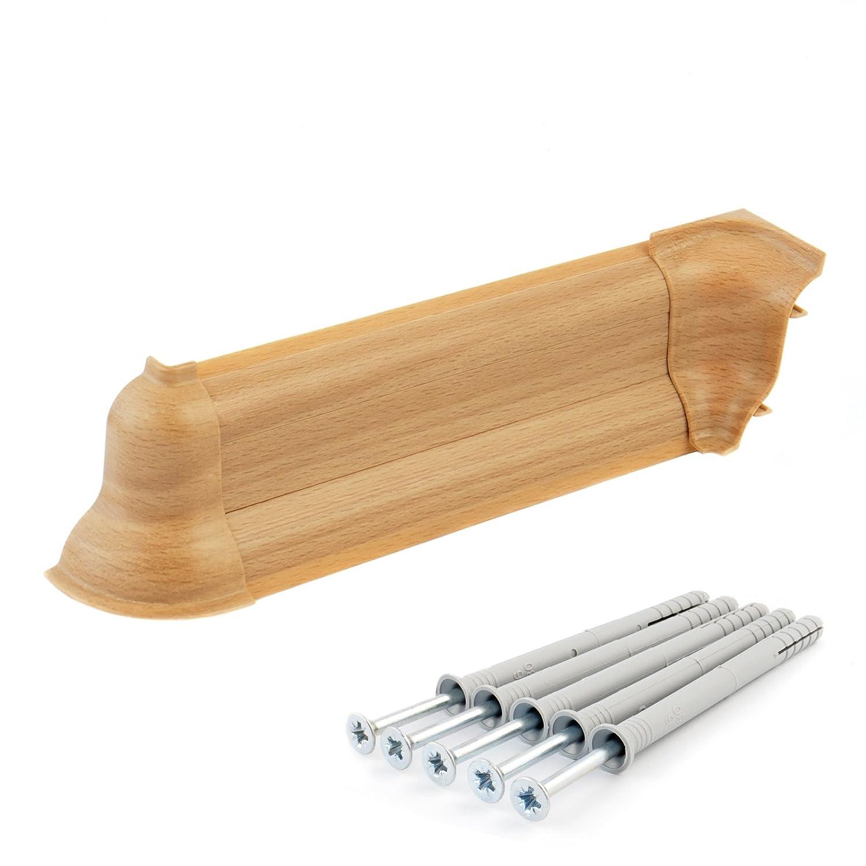 DQ-PP Endst/ück links 62mm PVC Buche Laminatleisten Fussleisten aus Kunststoff PVC Laminat Dekore Fu/ßleisten