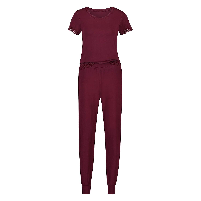 Hunkemöller Damen Pyjamaset Jersey Lace Rot 138081