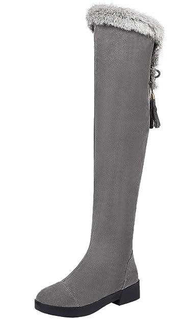 Overknee Stiefel Damen Winter Warm Schneestiefel Kunstfell Bequem Schnalle Schuhe Von BIGTREE Grau 40 EU lC72J28s