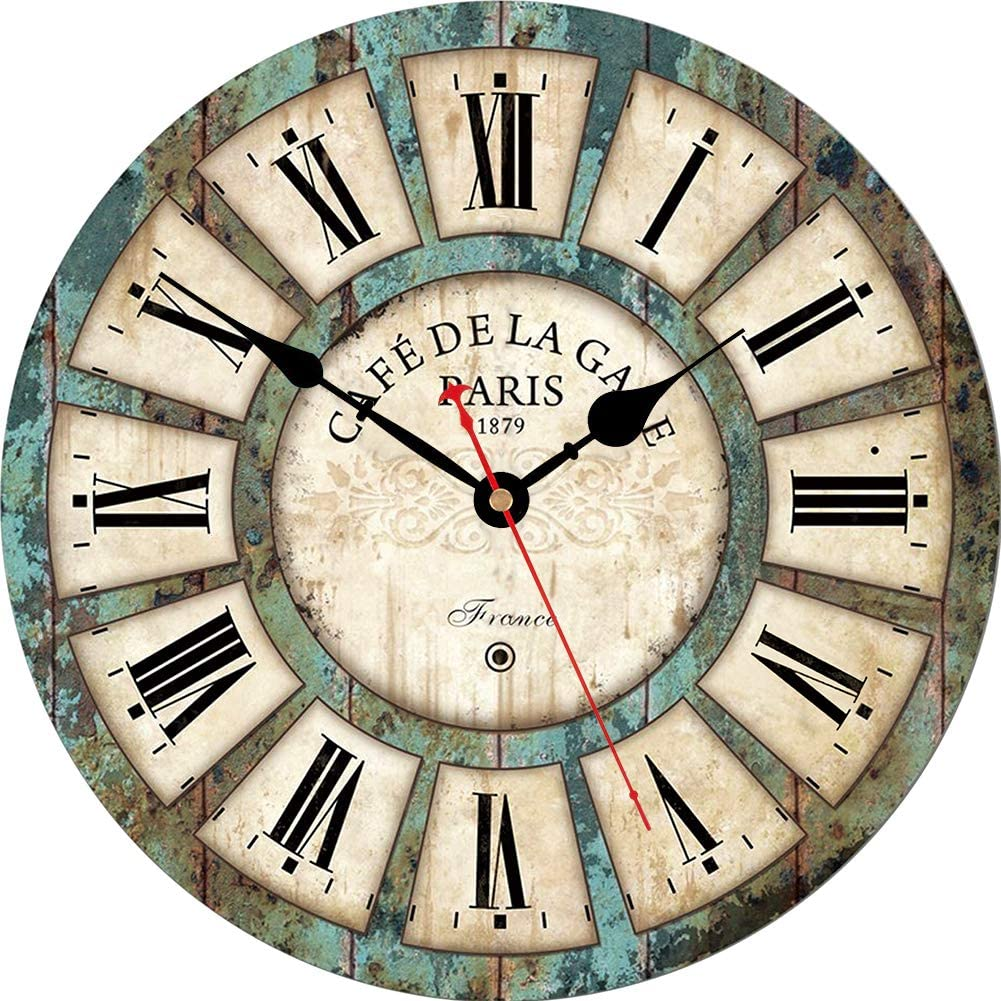 VIKMARI 8 Inch Vintage Wall Clock Silent Battery Operated Rustic Style Wall Clocks Roman Numerals Wooden Clock for Farmhouse, Living Room, Bedroom, Classroom, School and Office