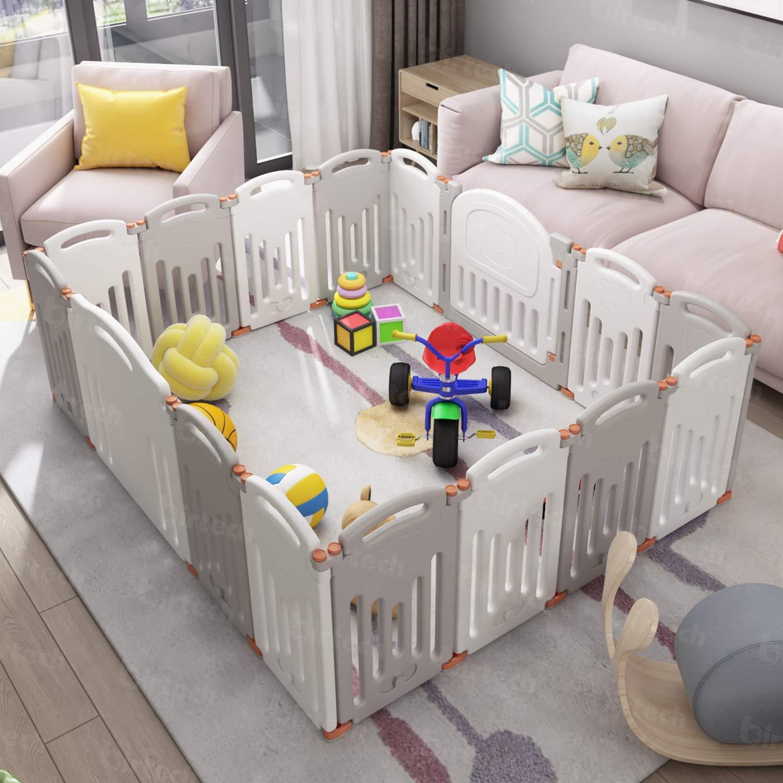 Baby-Spielstall mit 16 Paneelen f/ür Kinder von 10 Monaten bis 6 Jahren Sicherheits-Spielgitter doppelschichtiger Verschluss und rutschfester Unterseite Kinderzaun f/ür drinnen und drau/ßen