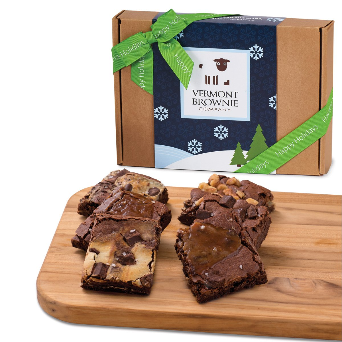 Amazon.com : Happy Holidays Gourmet Brownie Gift Sampler with Ribbon - 18 Brownies : Grocery & Gourmet Food