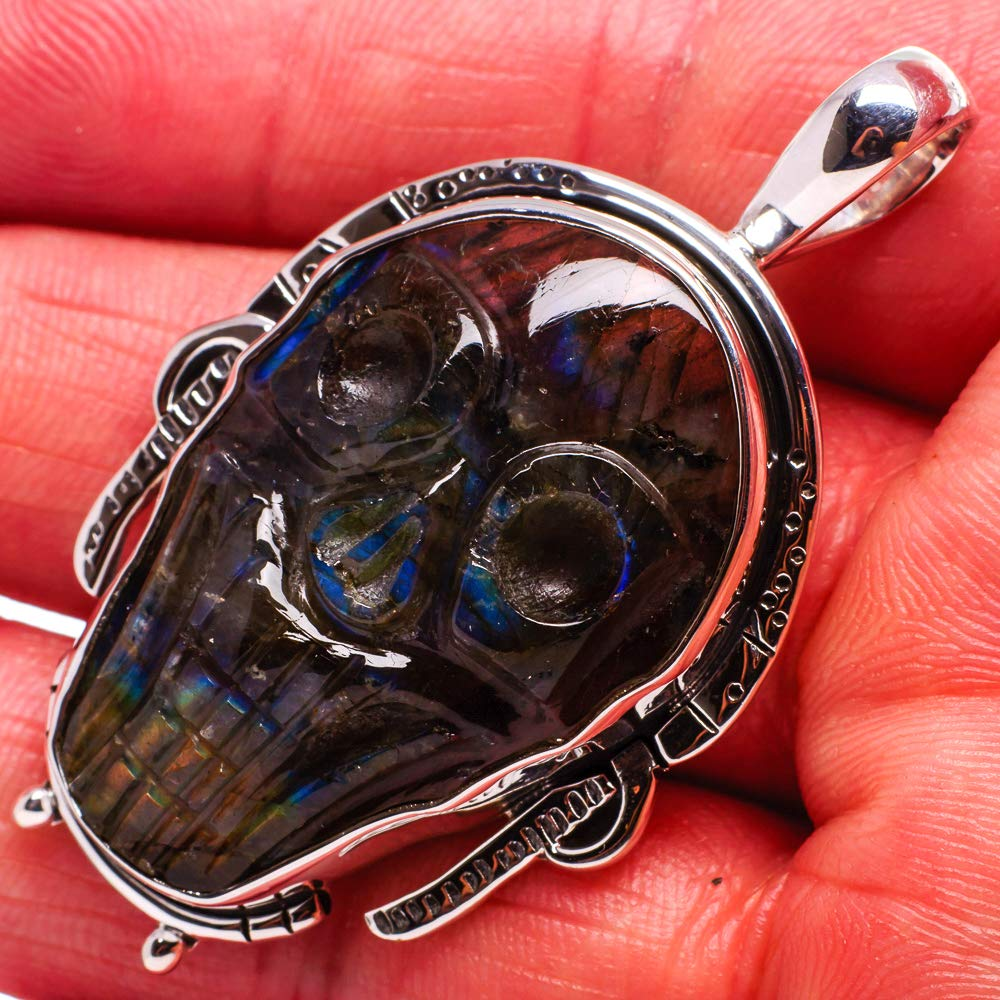 Ana Silver Co Labradorite Skull Pendant 2 - Handmade Jewelry Vintage PD675941 925 Sterling Silver Bohemian