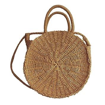 Augproveshak - Bolso de Mano para Mujer (Tejido de Paja, Hecho a Mano), diseño Redondo, Canela,: Amazon.es: Hogar