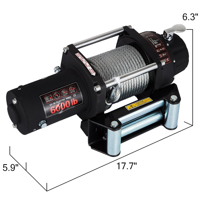 MosaicAL 12V Electric Winch ATV Recovery Winch 2721KG 6000LBS Electric ATV Recovery Winch Rope with Remote Control for ATV UTV 6000LBS