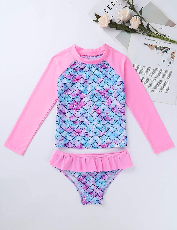 FEESHOW Kids Little Girls Long Sleeve Rashguard Swimsuit Shirt Top with Bikini Bottom 2 Piece Bathing Suit Set
