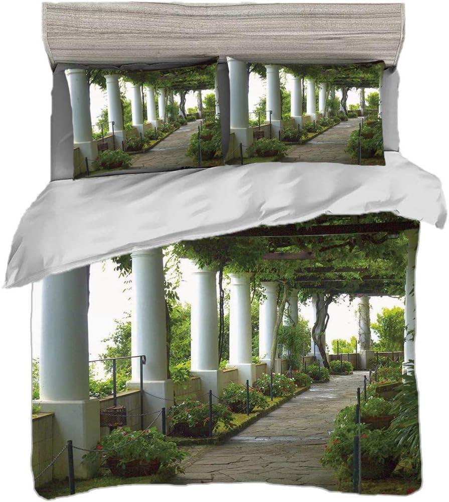 Juego de funda nórdica (220 x 240 cm) con 2 fundas de almohada Decoración italiana Ropa de cama con impresión digital Terraza con el paisaje marino en la isla de Capri Italia