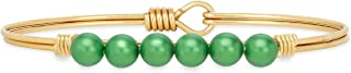 product image for Luca + Danni | Crystal Pearl Bangle Bracelet in Emerald For Women Made in USA