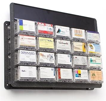 Displays2go dispensador de tarjetas de visita, color negro ABS plato de soporte con 20 policarbonato