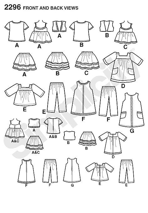 Simplicity 4654 - Patrones de costura para ropa de muñeca /(talla ...