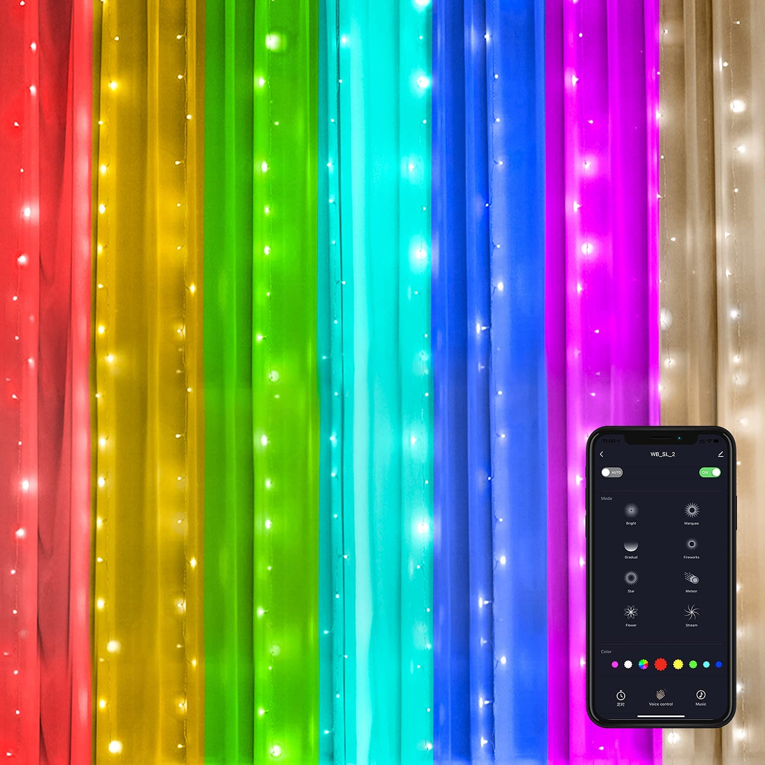 Smart Led Curtain Lights, 9.8ft x 9.8ft WiFi RGB Color Changing Window Curtain String Lights Work with Alexa Siri and Google Assistant for Bedroom, Christmas, Indoor, Outdoor Décor(2.4G WiFi Only)