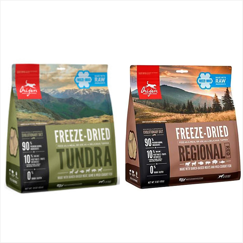 Orijen Freeze Dried Tundra Dog Food and Orijen Freeze Dried Regional Red Dog Food. (1-16 Ounce Bag of Each)