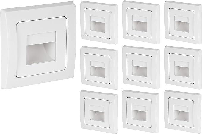 Juego de 10 lámparas LED COB empotrables para pared (230 V, aptas para cajas de interruptores de 60 mm, luz de escalera escalonada, luz blanca cálida (3000 K): Amazon.es: Iluminación