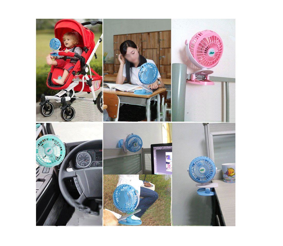 Clip on Fan,Blue Personal Fans,360°Rotating Free Adjustment Mini Fan,Portable Fan with 3 Speeds - 4 Inch Blades+A Phone Fan Perfect for Baby Stroller Outdoor Activity Office