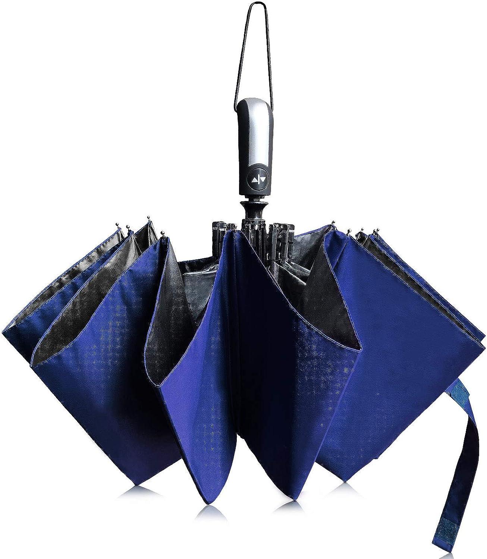 TOPKULL Travel Umbrella Windproof Automatic Umbrellas, Small Compact Folding Reverse Umbrella with Teflon Anti-UV Protection for Men&Women
