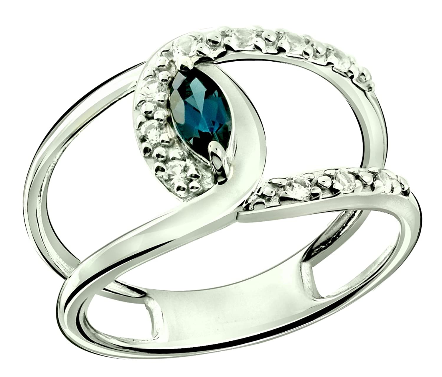 Sterling Silver 925 Ring LONDON BLUE TOPAZ and WHITE TOPAZ 0.47 Carat with Rhodium-Plated Finish