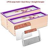 ZYTJ Silicone soap molds kit kit-2 PCS 42 oz Flexible Rectangular Loaf Comes with Wood Box,1 PCS Stainless Steel Wavy & 1 PCS