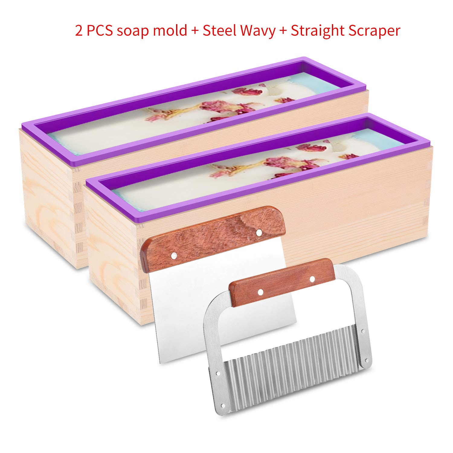 ZYTJ Silicone soap molds kit kit-2 PCS 42 oz Flexible Rectangular Loaf Comes with Wood Box,1 PCS Stainless Steel Wavy & 1 PCS Straight Scraper for CP and MP Making Supplies