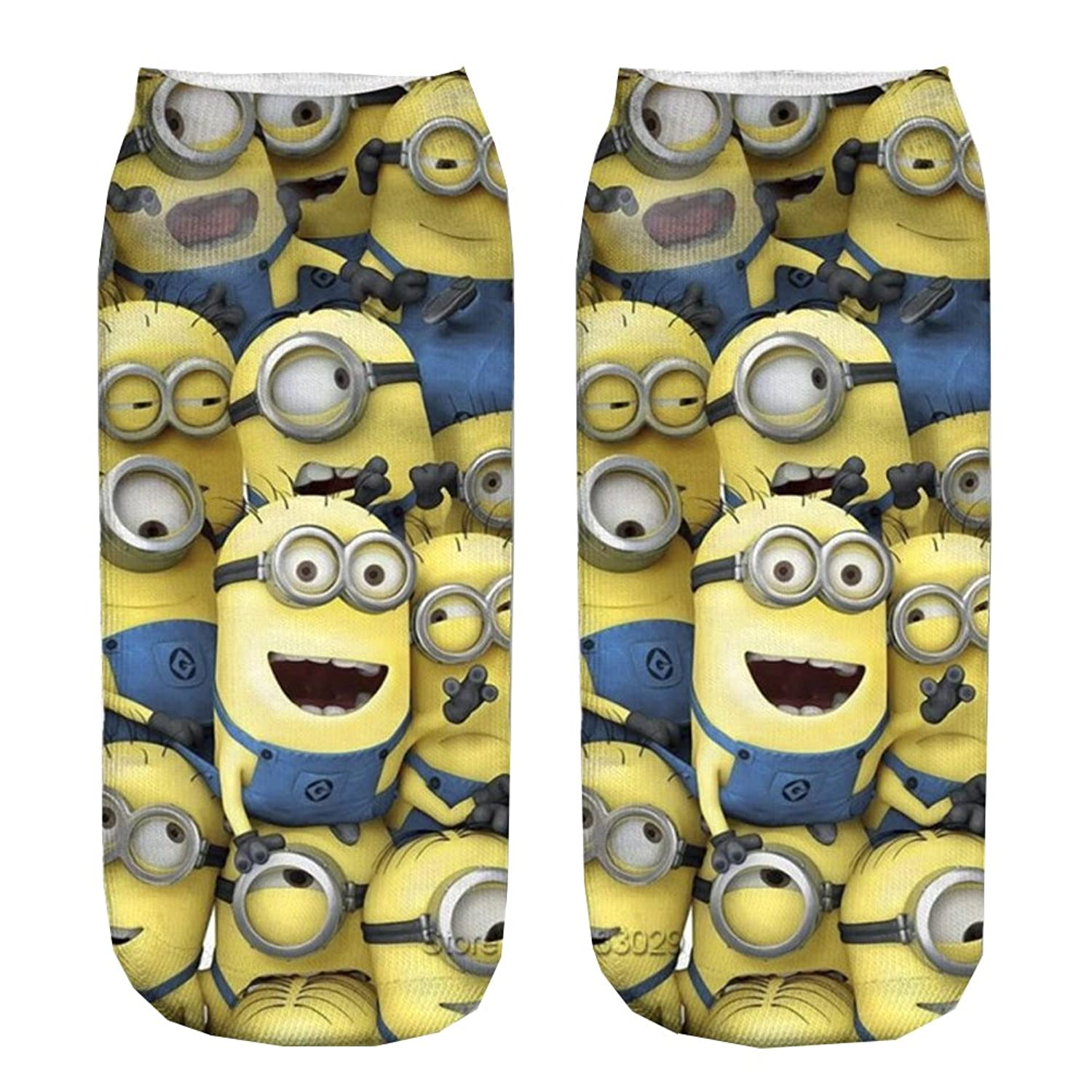 Minions Space 3D Printed Black Dog Animal Unisex Cute Low Cut Ankle Socks