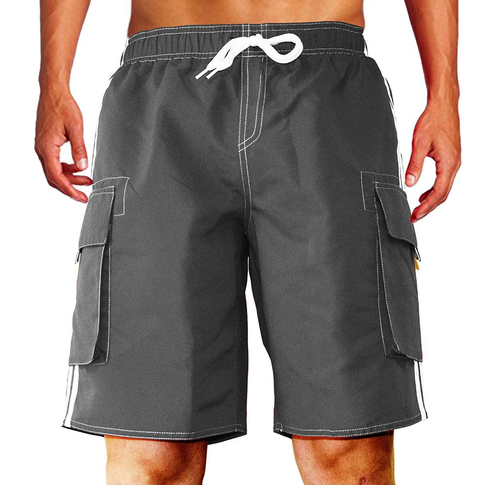 Men's Barracuda Quick Dry Swim Trunks Beach Shorts Board Shorts with Mesh Lining Support (Large, Gray)