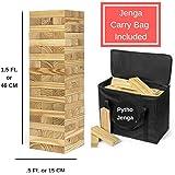 Pytho Jenga Giant | Big Size Natural Pine Wood Blocks for Real Jenga Lovers | 54 Plain Classic Blocks for Adults and Kids | Size: 46 X 15 X 15 cm (Giant)