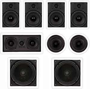 """Theater Solutions TST87 in Wall and in Ceiling 8"""" Speakers 2000W Home Theater 7.2 Speaker System"""