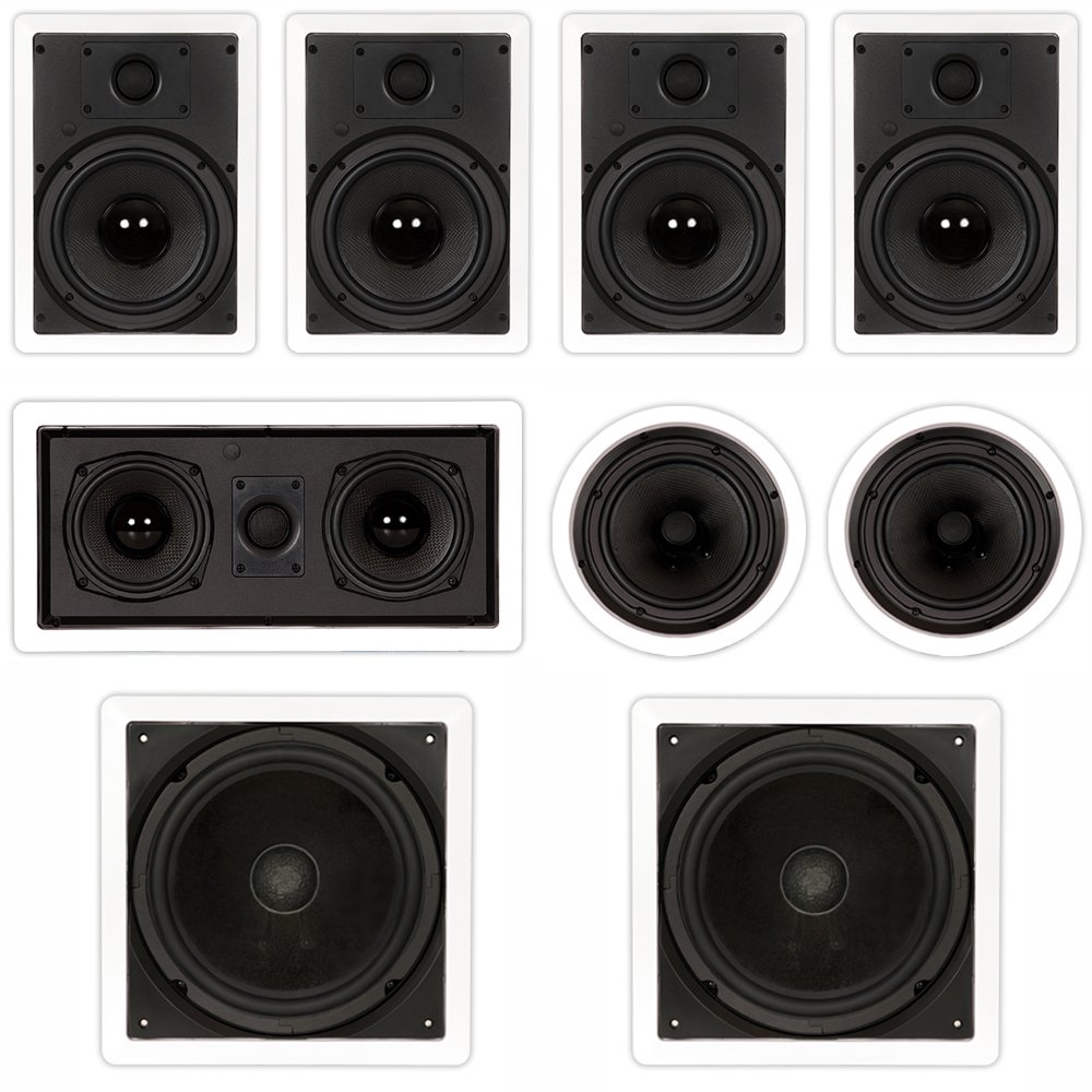 Theater Solutions TST87 In Wall and In Ceiling 8'' Speakers 2000W Home Theater 7.2 Speaker System
