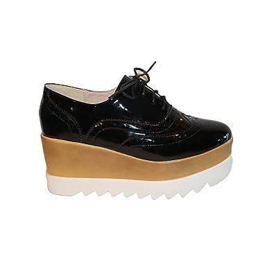 52f810e57 Amazon.com | Women´s Fashion Wedge Patent Oxford Platform Shoe (8, Black) |  Oxfords