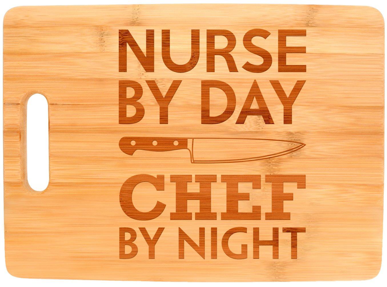 Nurse Appreciation Gift Nurse By Day Chef By Night Nursing Big Rectangle Bamboo Cutting Board Bamboo