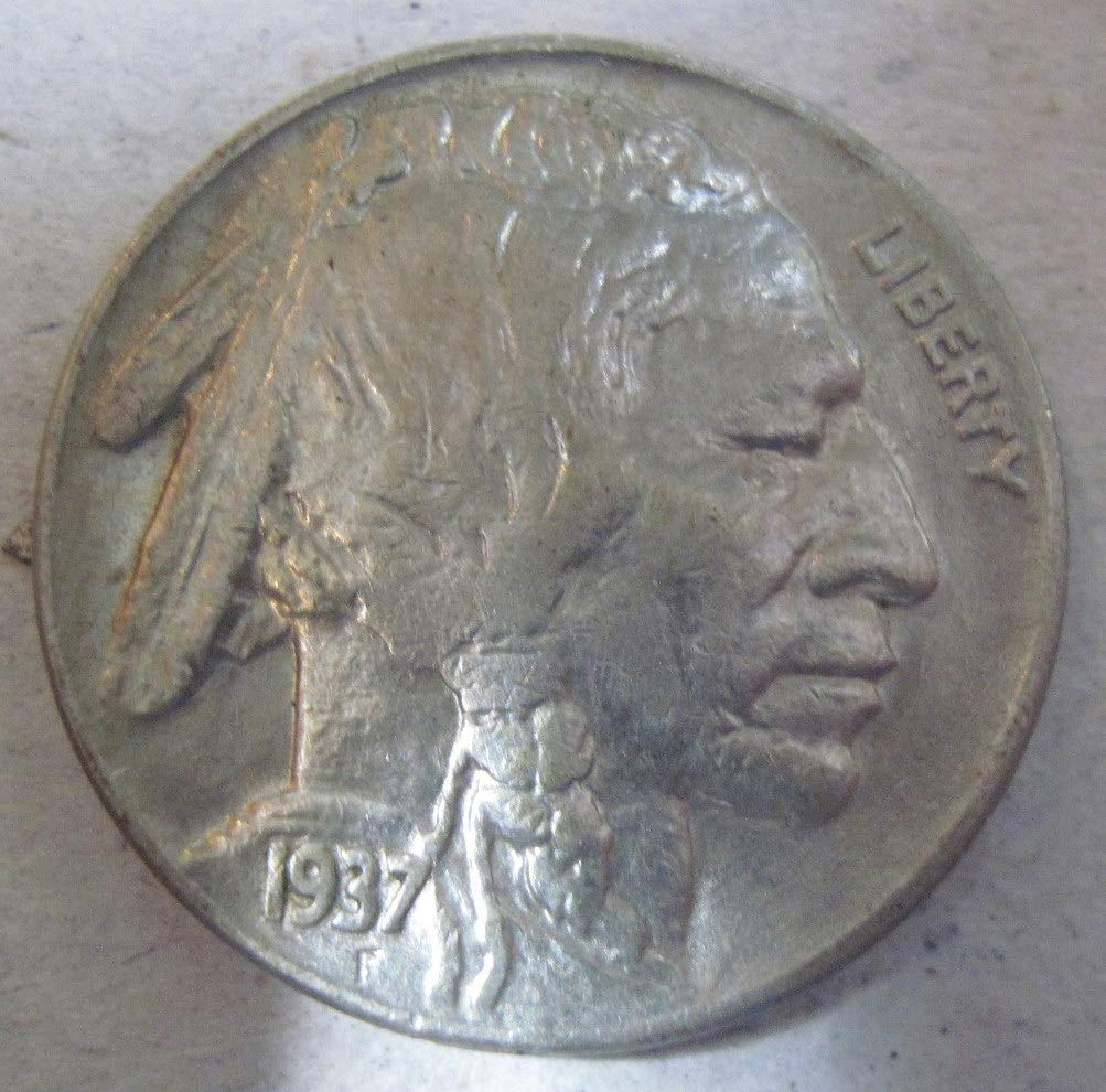 1937 5c Indian Head Buffalo Nickel US Coin AU About Uncirculated