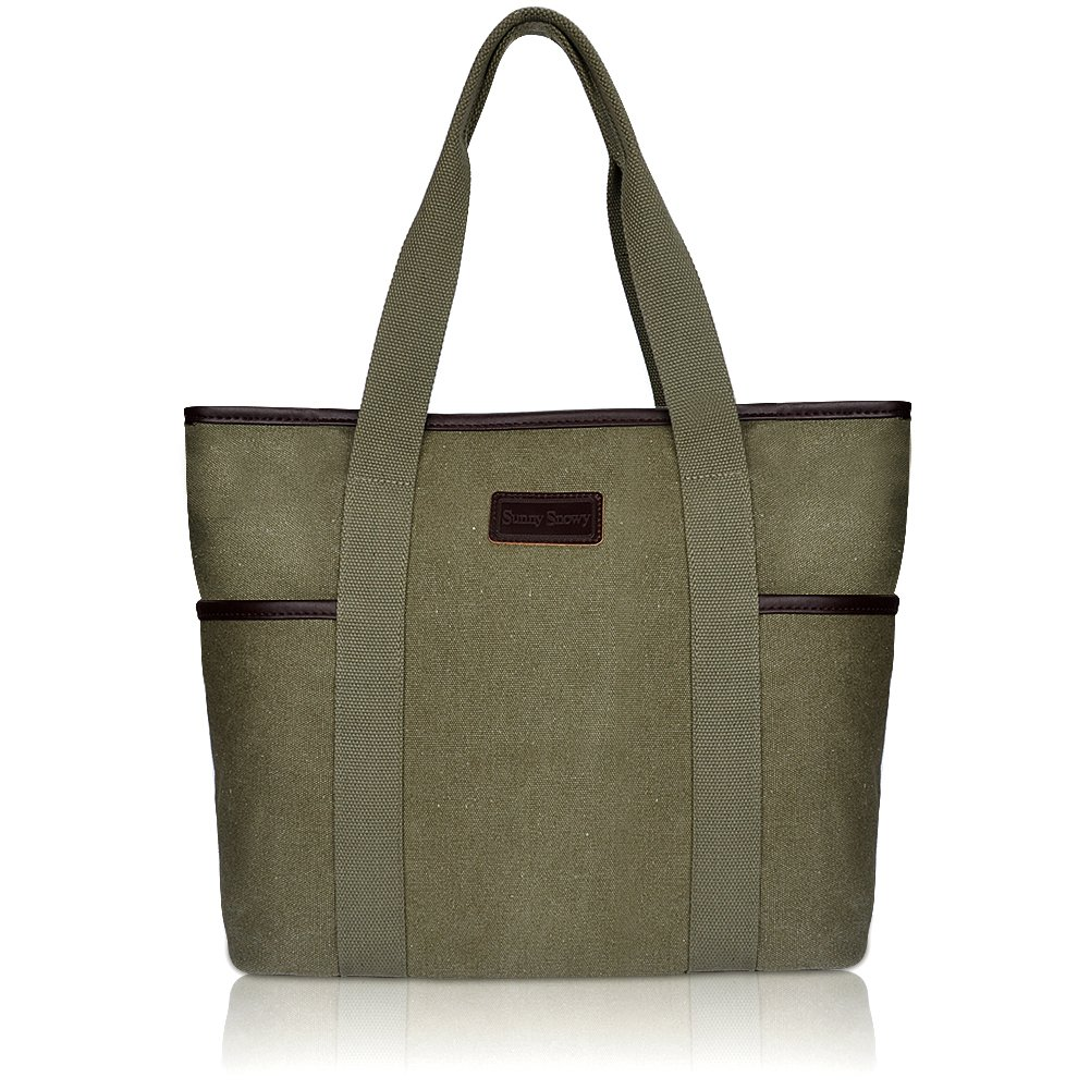 Canvas Tote Bag for Women,Sunny Snowy Large Tote Bags,Work School Shoulder Bag(8002,Army Green)