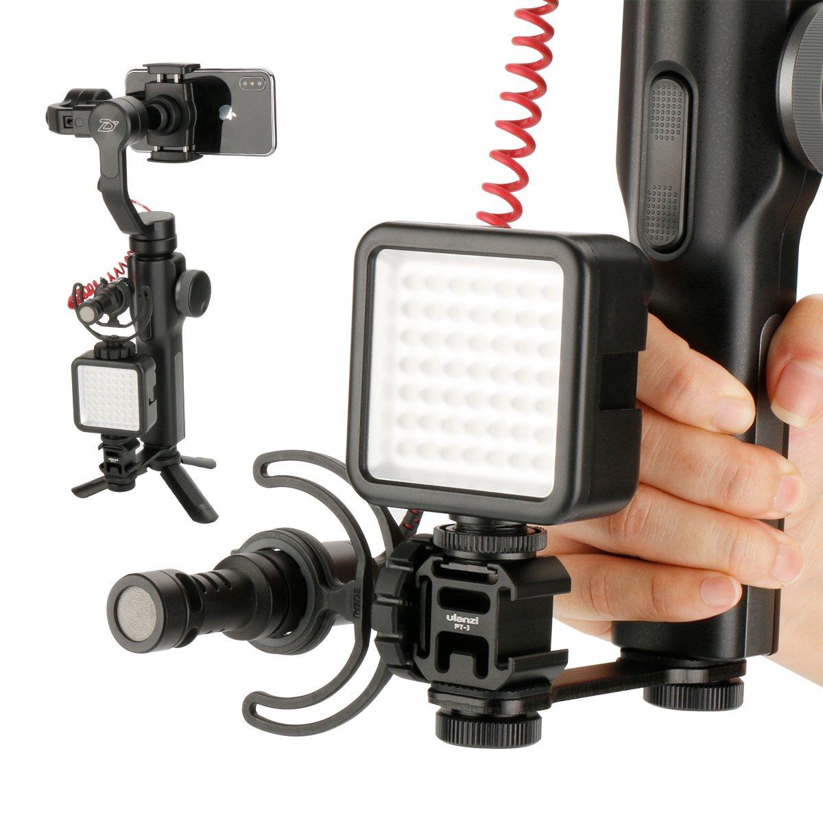 Ulanzi PT-3 Convertitore adattatore per attacco a slitta calda tripla di MM1 Supporto per staffa supporto microfono per Zhiyun Smooth 4 Smooth Q per DJI Osmo Mobile 2 LED Video Light